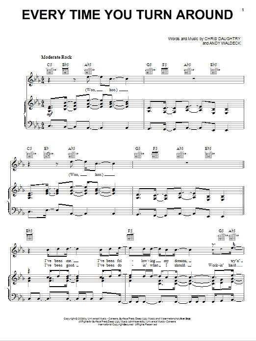 Daughtry Every Time You Turn Around sheet music notes and chords. Download Printable PDF.