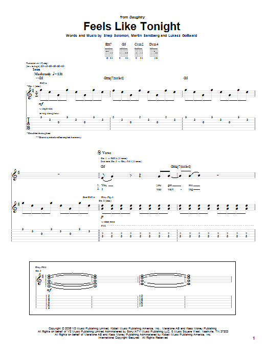Daughtry Feels Like Tonight sheet music notes and chords. Download Printable PDF.