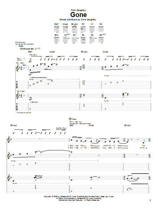 Daughtry Gone sheet music notes and chords. Download Printable PDF.