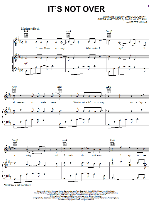 Daughtry It's Not Over sheet music notes and chords. Download Printable PDF.