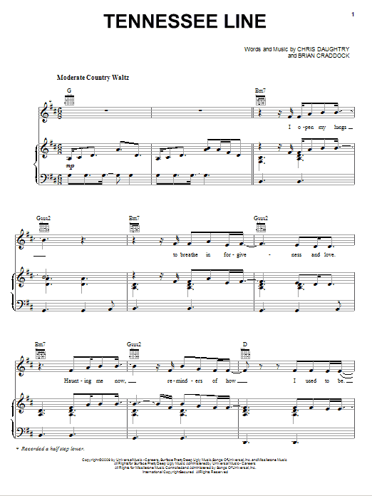 Daughtry Tennessee Line sheet music notes and chords. Download Printable PDF.