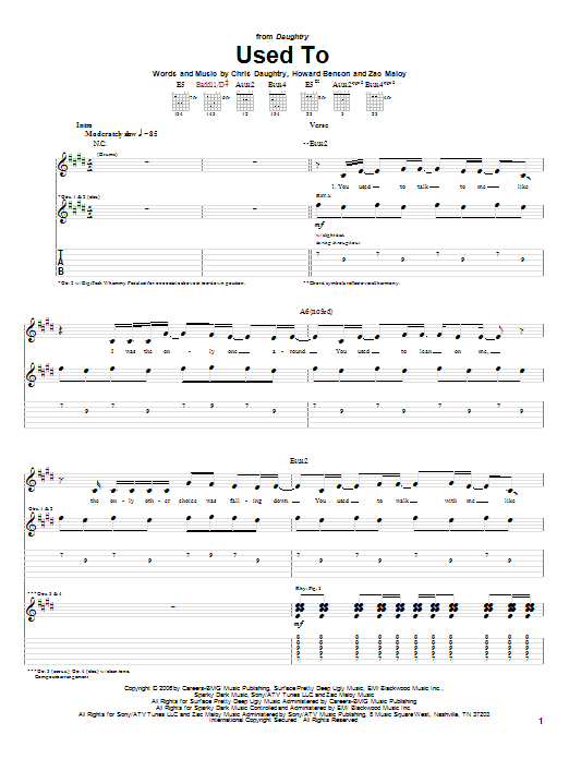 Daughtry Used To sheet music notes and chords. Download Printable PDF.