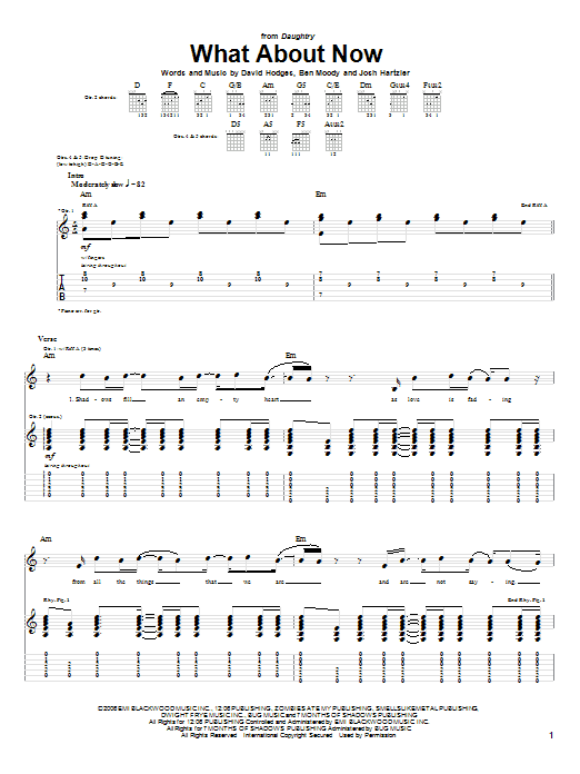 Daughtry What About Now sheet music notes and chords. Download Printable PDF.
