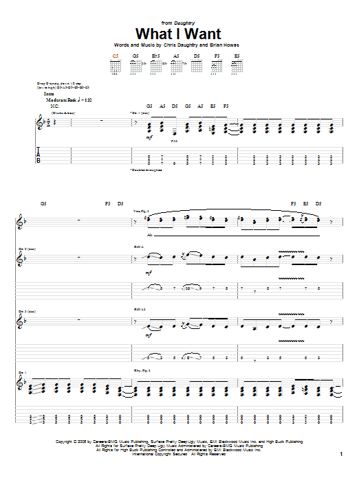 Daughtry What I Want (feat. Slash) sheet music notes and chords. Download Printable PDF.