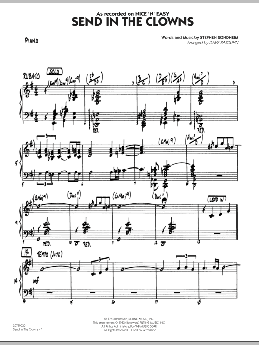 Dave Barduhn Send In The Clowns - Piano sheet music notes and chords. Download Printable PDF.