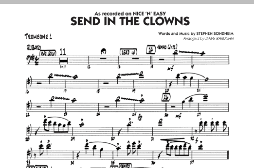 Dave Barduhn Send In The Clowns - Trombone 1 sheet music notes and chords. Download Printable PDF.