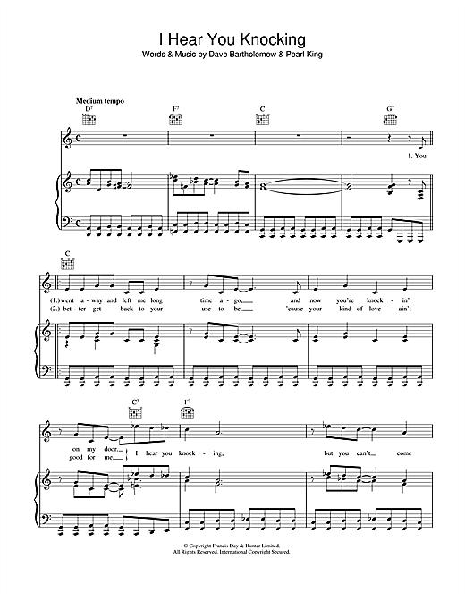 Dave Bartholomew I Hear You Knocking sheet music notes and chords. Download Printable PDF.