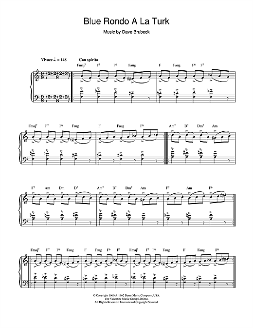 Dave Brubeck Blue Rondo A La Turk sheet music notes and chords. Download Printable PDF.