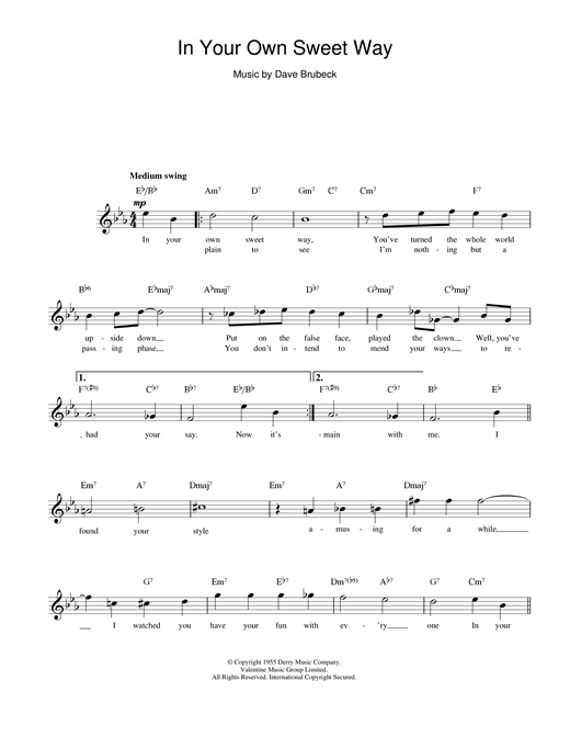Dave Brubeck In Your Own Sweet Way sheet music notes and chords