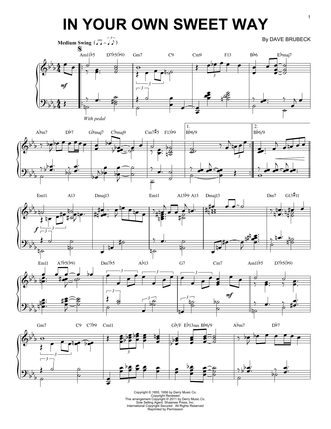 Dave Brubeck In Your Own Sweet Way (arr. Brent Edstrom) sheet music notes and chords. Download Printable PDF.