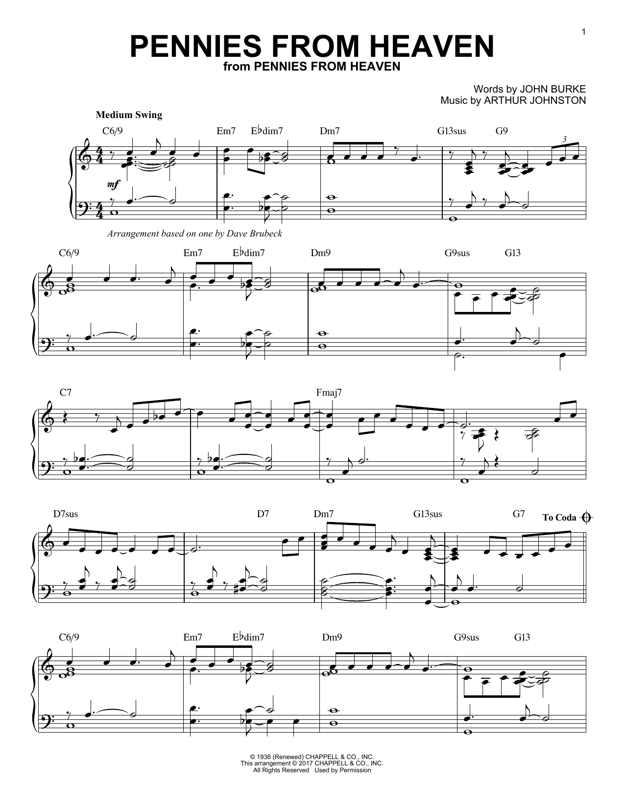Dave Brubeck Pennies From Heaven sheet music notes and chords. Download Printable PDF.