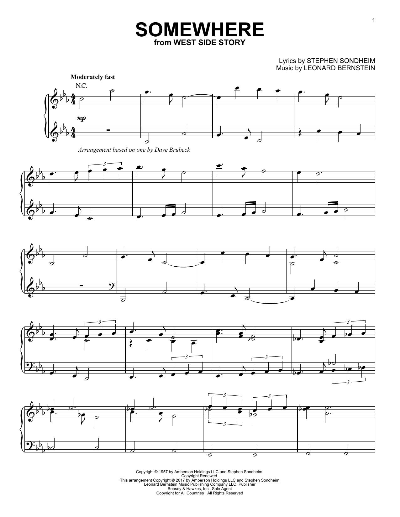 Dave Brubeck Somewhere [Jazz version] sheet music notes and chords. Download Printable PDF.