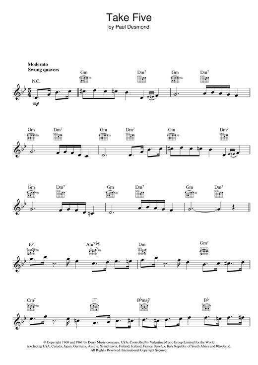 Dave Brubeck Take Five sheet music notes and chords. Download Printable PDF.