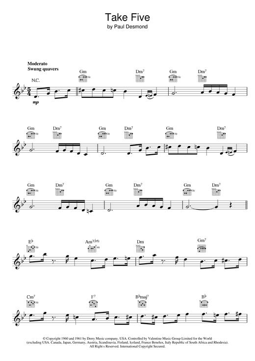 Dave Brubeck Take Five sheet music notes and chords. Download Printable PDF.