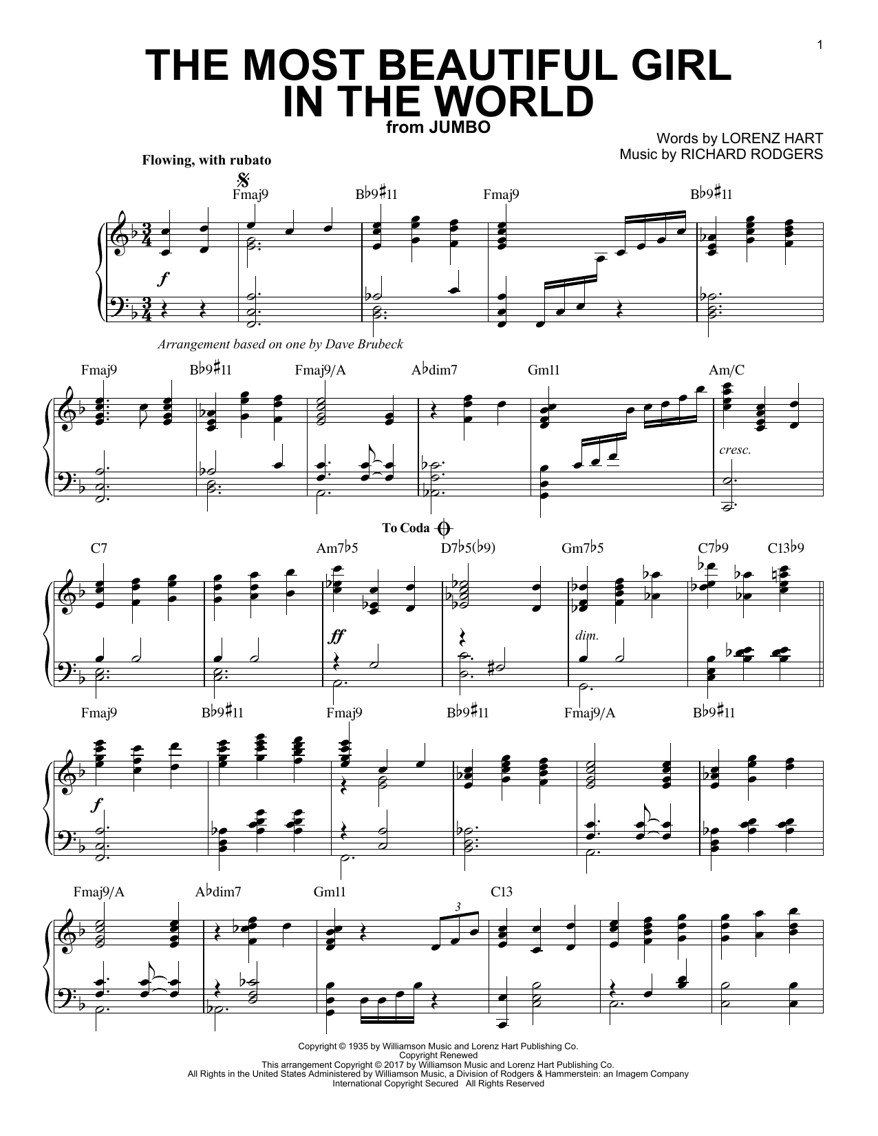 Dave Brubeck The Most Beautiful Girl In The World sheet music notes and chords