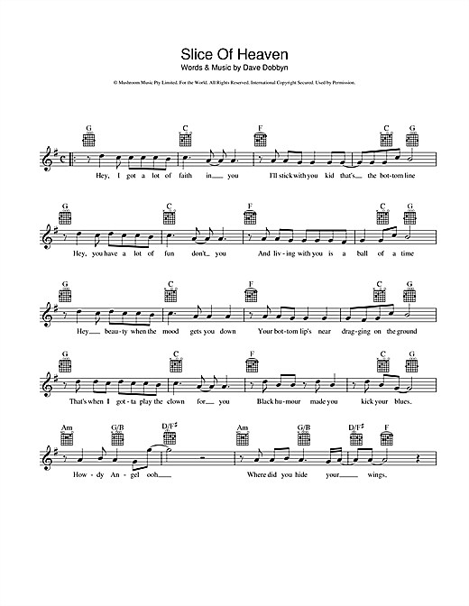 Dave Dobbyn Slice Of Heaven sheet music notes and chords. Download Printable PDF.