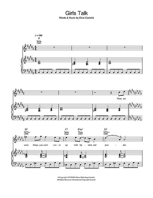 Dave Edmunds Girls Talk sheet music notes and chords. Download Printable PDF.