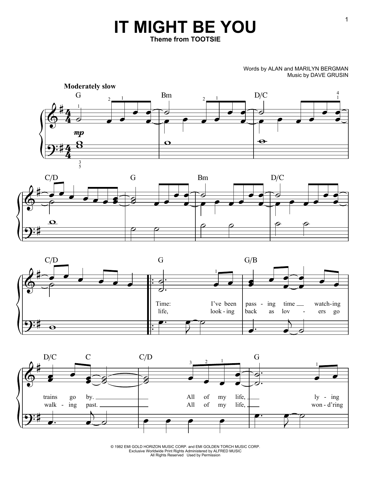 Dave Grusin It Might Be You (from Tootsie) sheet music notes and chords