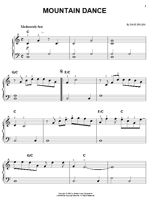 Dave Grusin Mountain Dance sheet music notes and chords
