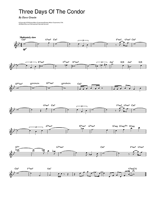 Dave Grusin Three Days Of The Condor sheet music notes and chords. Download Printable PDF.