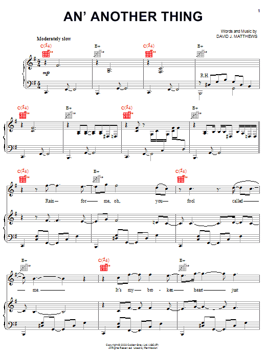 Dave Matthews An' Another Thing sheet music notes and chords. Download Printable PDF.