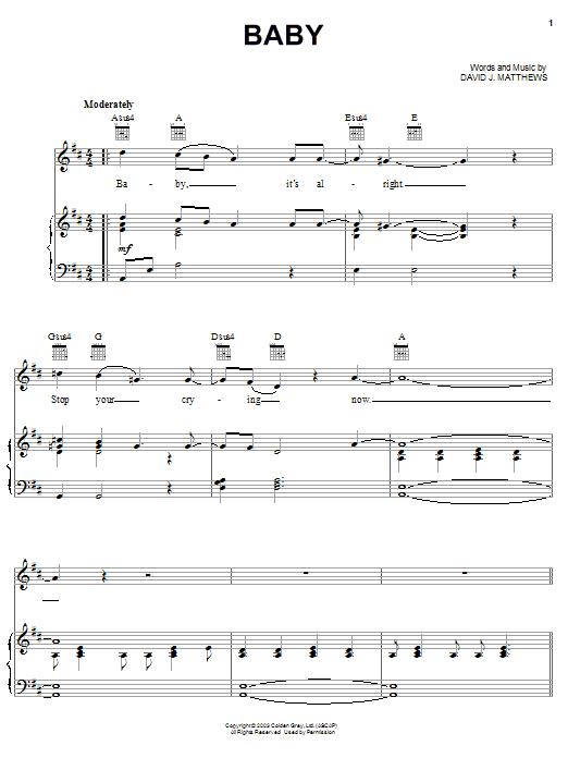 Dave Matthews Baby sheet music notes and chords. Download Printable PDF.