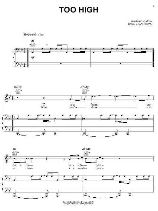 Dave Matthews Too High sheet music notes and chords. Download Printable PDF.