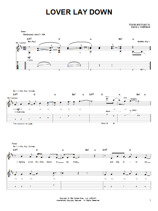 Dave Matthews & Tim Reynolds Lover Lay Down sheet music notes and chords. Download Printable PDF.