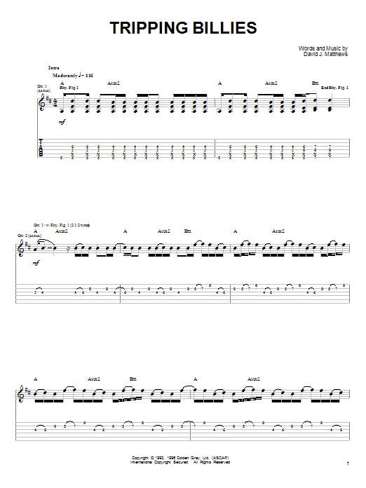 Dave Matthews & Tim Reynolds Tripping Billies sheet music notes and chords. Download Printable PDF.