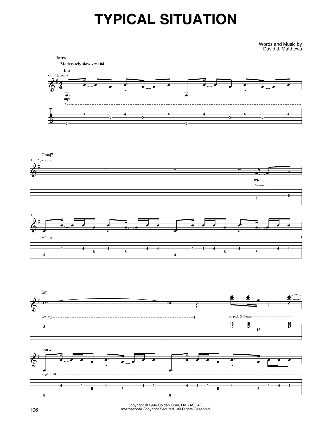 Dave Matthews & Tim Reynolds Typical Situation sheet music notes and chords. Download Printable PDF.