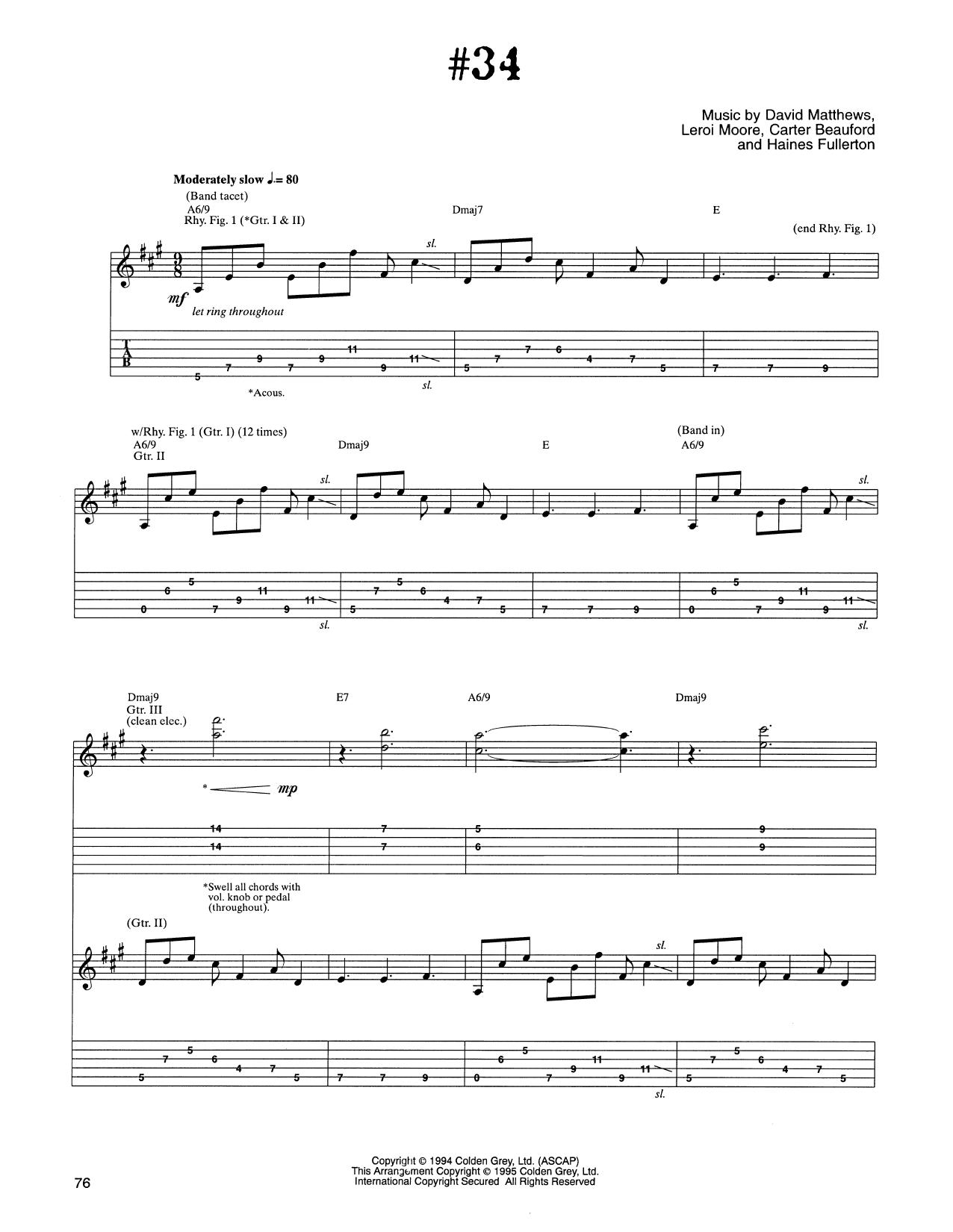 Dave Matthews Band #34 sheet music notes and chords