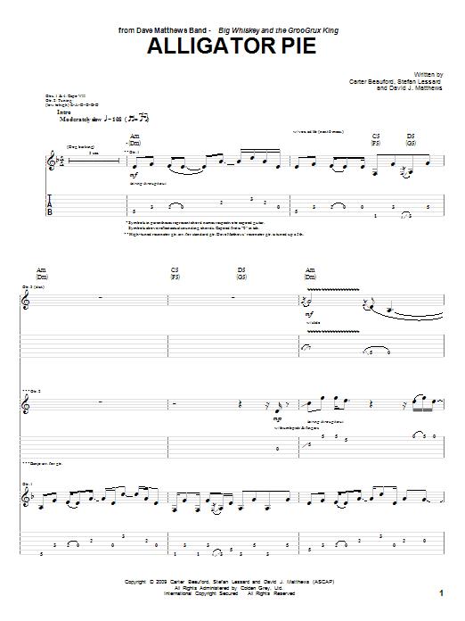 Dave Matthews Band Alligator Pie sheet music notes and chords. Download Printable PDF.