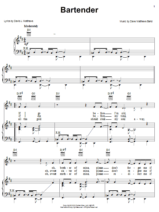 Dave Matthews Band Bartender sheet music notes and chords. Download Printable PDF.