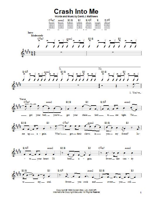 Dave Matthews Band Crash Into Me sheet music notes and chords. Download Printable PDF.