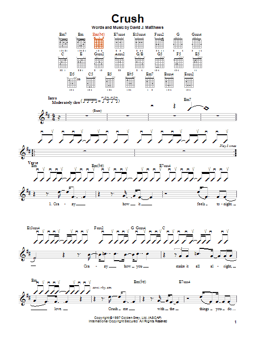 Dave Matthews Band Crush sheet music notes and chords. Download Printable PDF.