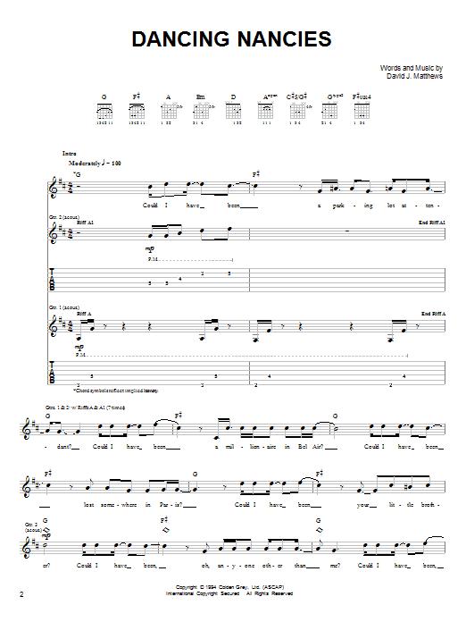 Dave Matthews Band Dancing Nancies sheet music notes and chords. Download Printable PDF.