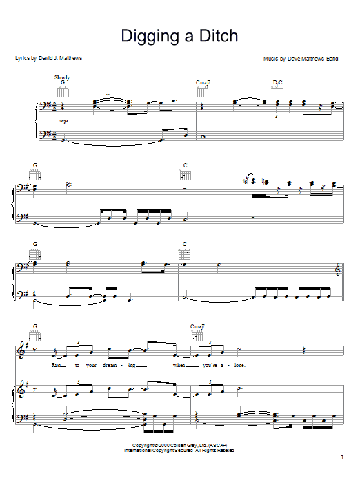 Dave Matthews Band Digging A Ditch sheet music notes and chords. Download Printable PDF.