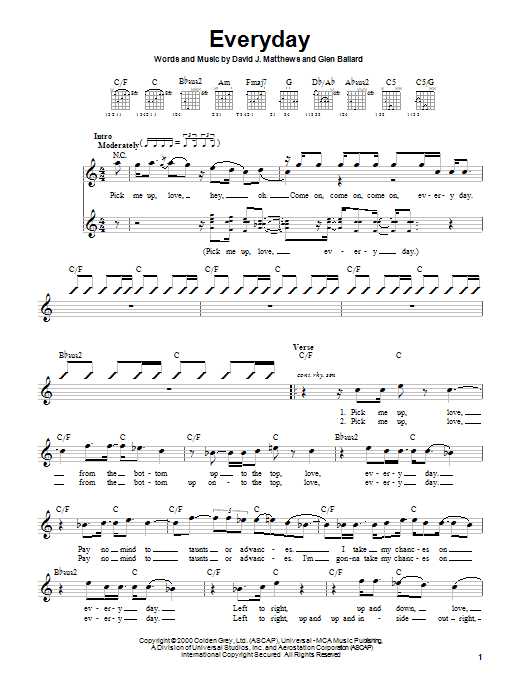 Dave Matthews Band Everyday sheet music notes and chords. Download Printable PDF.