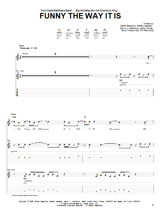 Dave Matthews Band Funny The Way It Is sheet music notes and chords. Download Printable PDF.
