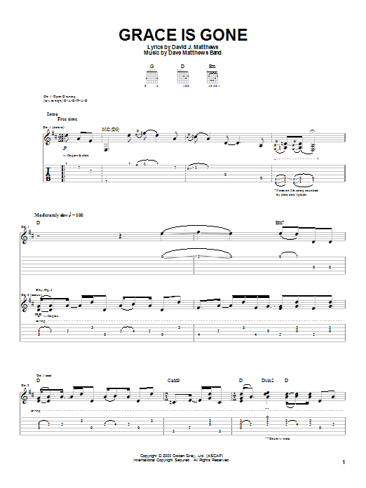 Dave Matthews Band Grace Is Gone sheet music notes and chords. Download Printable PDF.