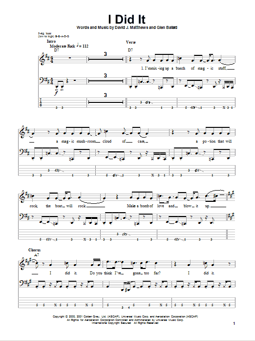 Dave Matthews Band I Did It sheet music notes and chords
