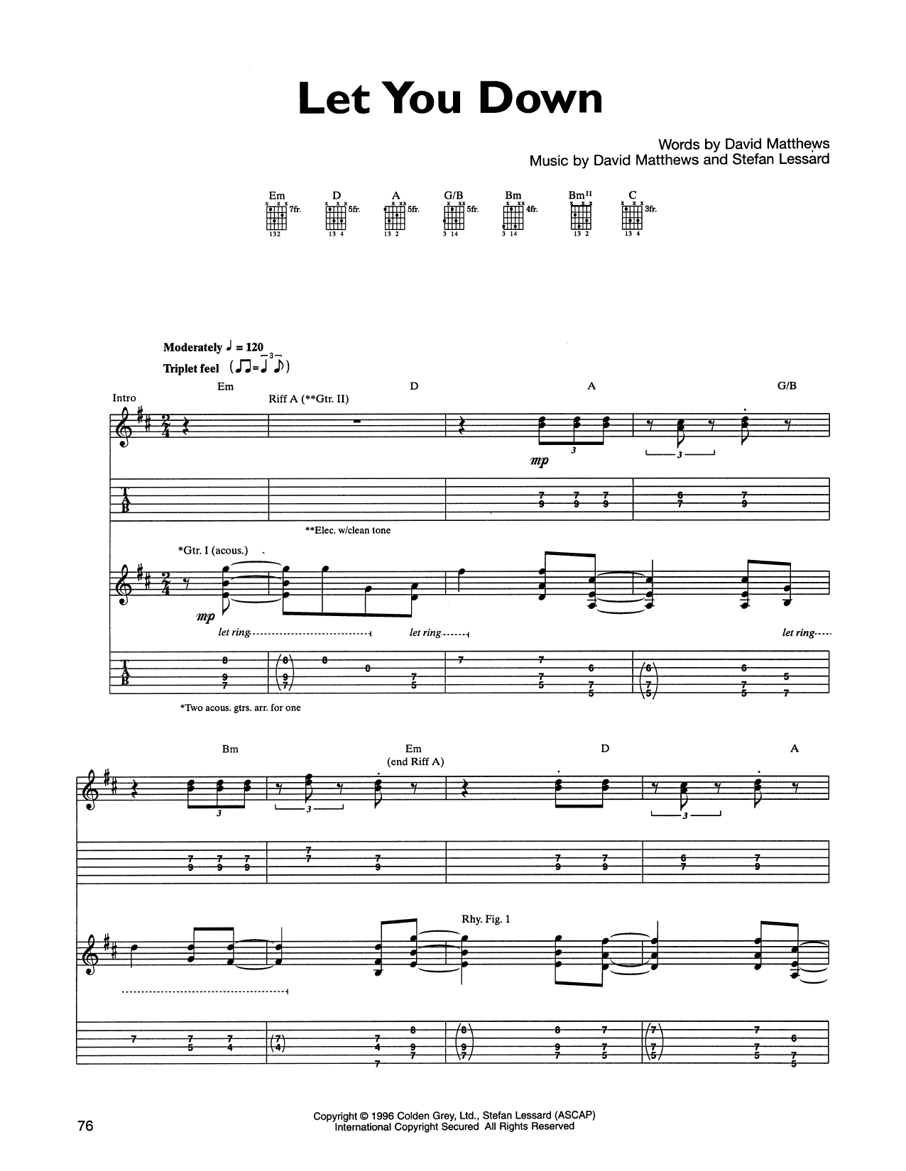 Dave Matthews Band Let You Down sheet music notes and chords