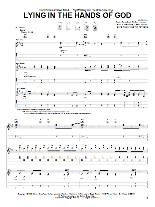 Dave Matthews Band Lying In The Hands Of God sheet music notes and chords. Download Printable PDF.