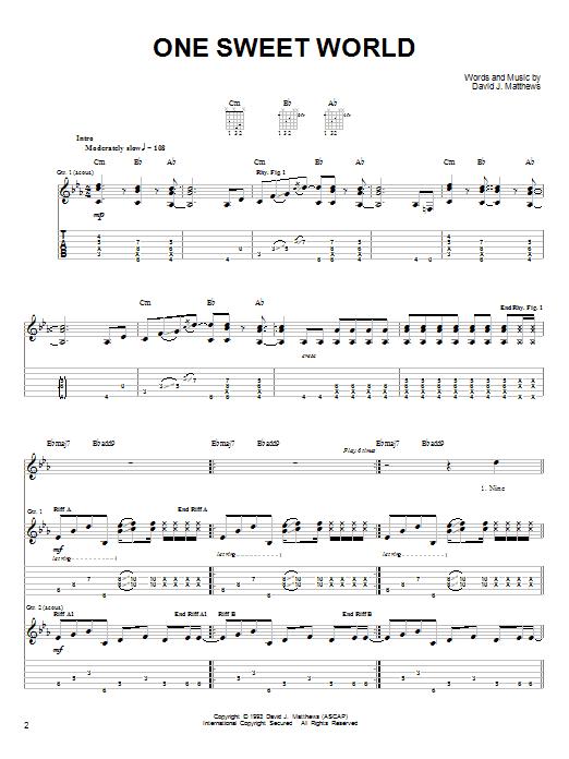 Dave Matthews Band One Sweet World sheet music notes and chords. Download Printable PDF.