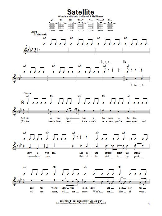 Dave Matthews Band Satellite sheet music notes and chords. Download Printable PDF.