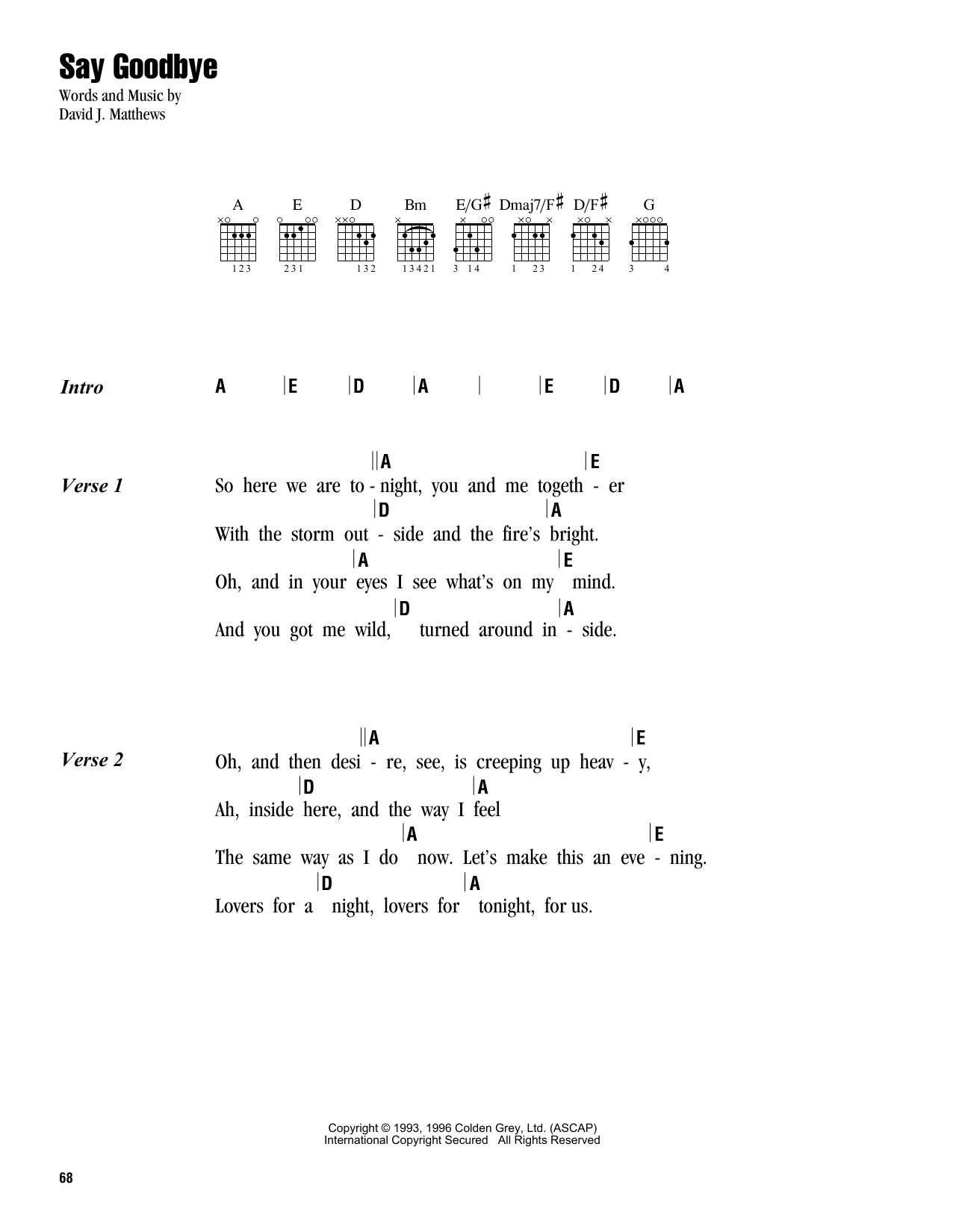Dave Matthews Band Say Goodbye sheet music notes and chords. Download Printable PDF.