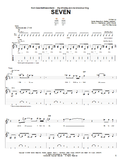 Dave Matthews Band Seven sheet music notes and chords. Download Printable PDF.