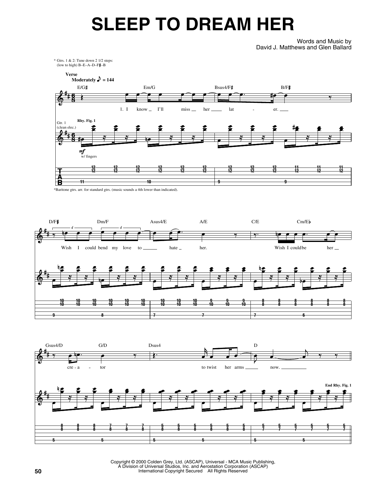 Dave Matthews Band Sleep To Dream Her sheet music notes and chords