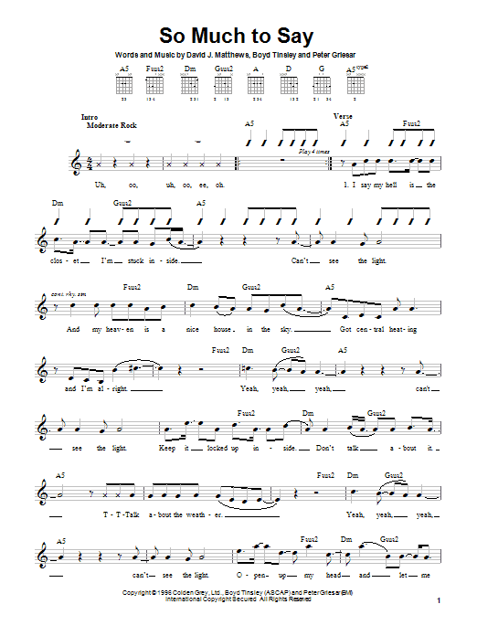 Dave Matthews Band So Much To Say sheet music notes and chords. Download Printable PDF.