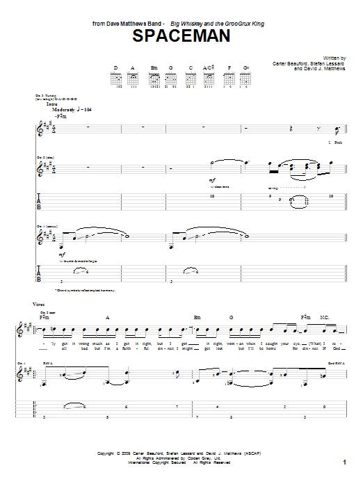 Dave Matthews Band Spaceman sheet music notes and chords. Download Printable PDF.